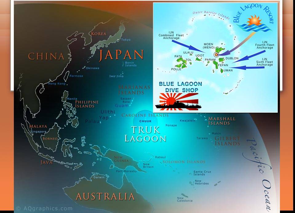 Map-Location of Truk Lagoon - Divers Traveling To Chuuk...